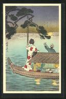 Künstler-AK Japanische Kunst, Geisha Auf Einem Boot, Lampions, Frauen Beim Tee Trinken Im Boot - Künstlerkarten