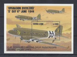 "SERRIA LEONE...ELIZABETH II.(1952-NOW)...C.47. DOUGLAS DAKOTAS DROP....OPERATION OVERLOAD..MS2117."" D "" DAY.MH - Airplanes"