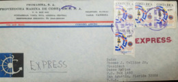L) 1976 COSTA RICA, FLAG, YOUTH TO BE SERVED MUST SERVE, 1C, EXPRESS, PROMARINA, AIRMAIL, CIRCULATED COVER FROM COSTA - Costa Rica