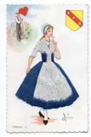 33288-ZE-FANTAISIE-LORRAINE --------------Costume Régional-----------carte Brodée Et Dentelle - Brodées