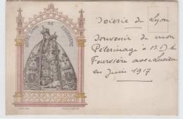 Carte Brodee Tissé Soie Lyon Notre Dame De Fourviere - Brodées