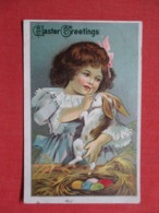Holidays & Celebrations > Easter  Greetings  Embossed  Girl With Rabbit      Ref 3687 - Ostern