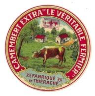 """ETIQUETTE De FROMAGE..Petit CAMEMBERT Extra """" Le Véritable Fermier"""" Fabriqué En THIERACHE - Kaas"""