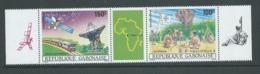 Gabon 1985 Philex Africa Scout & Satellite Strip With Label MNH - Gabon