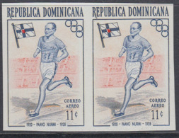 Dominican Republic 1957 - Olympic Games In Melbourne: Paavo Nurmi, Athletics - Imperforate Pair Mi 565 ** MNH - Zomer 1956: Melbourne