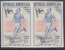Dominican Republic 1957 - Olympic Games In Melbourne: Paavo Nurmi, Athletics - Imperforate Pair Mi 565 ** MNH - Estate 1956: Melbourne