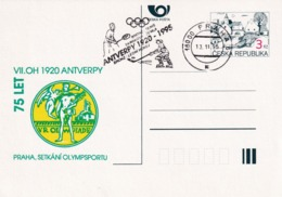 Czech Republic 1995 Postal Stationery Card; Olympic Games Anvers 1920; Medal; Tennis; Ice Hockey Sur Glace Eishockey - Tenis