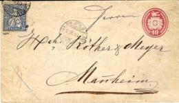 1868- Enveloppe E P 10c + Compl. 30c  N°41  De BERN Pour Mannheim ( Allemagne ) - 1862-1881 Helvetia Sentada (dentados)