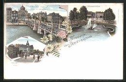 Lithographie Amsterdam, Doelen Hotel, Paleis Voor Volksvlijt - Amsterdam