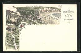 Lithographie Pourville, Le Grand Hotel Et Le Casino, Plage De Pourville - France