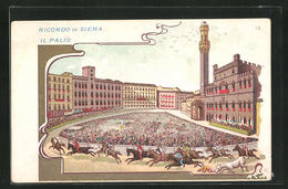 Artista-Cartolina Siena, Il Palio, Palio-Rennen Auf Dem Palazzo Pubblico - Siena