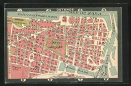 AK Ostende, Plan Der Innenstadt - Belgique