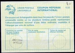 ANDORRA / ANDORRE La23 International Reply Coupon Reponse IAS IRC Antwortschein O Petit ANDORRA-LA-VELLA - Entiers Postaux & Prêts-à-poster