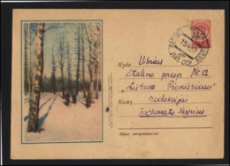 RUSSIA USSR Stamped Stationery Used 56-134 Winter Forest Tree Skying SILUTE LITHUANIA Cancellation - 1923-1991 UdSSR