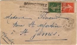 FRANCE 0137 138 (o) Lettre VESOUL (Haute-Saône) => SAINT-JAMES (Manche) Cachet Déc 1917 Flamme Emprunt National [GR] - Francia