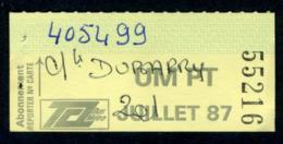 Ticket - Billet Ou Titre De Transport Bus - LYON - Abonnement Juillet 1987 - TCL - Autobus