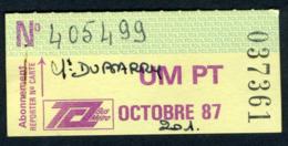 Ticket - Billet Ou Titre De Transport Bus - LYON - Abonnement Octobre 1987 - TCL - Autobus