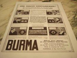 ANCIENNE PUBLICITE PREUVE CONVAINCANTE BIJOU DE  BURMA 1935 - Juwelen & Horloges
