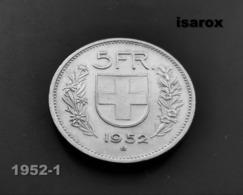 Rare Pièce De 5 Francs Suisse Argent De 1952 / 5 Swiss Franc Coin Silver Of 1952 - Svizzera