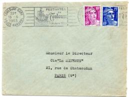 MARINE = 31 TOULOUSE GARE 1953 = Flamme RBV Illustrée D'une CARAVELLE = RBV ' FESTIVITES ' - Marcofilia (sobres)