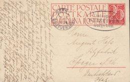 Switzerland Postal Stationery Ganzsache Entier Wertziffer  Flamme 'Osterpost Bezeiten Aufgeben' BERN 1924 SPEYER Germany - Stamped Stationery