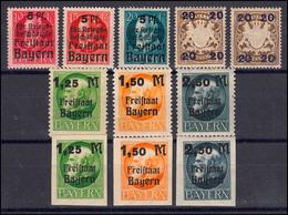 171-177 Vier Aufdruck-Ausgaben Bayern Mit Untertypen, 11 Marken Postfrisch ** - Bayern (Baviera)