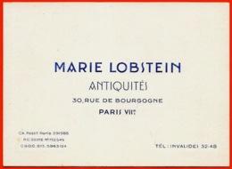 Carte De Visite Commerciale MARIE LOBSTEIN Antiquités Rue De Bourgogne 75007 Paris - Cartes De Visite