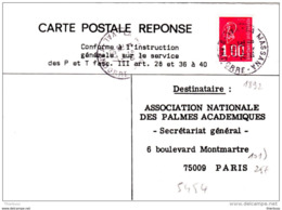 Carte Postale Reponse Marianne Bequet 1892 TAD La Massana Val D'andorre 1977 - 1971-76 Marianne De Béquet