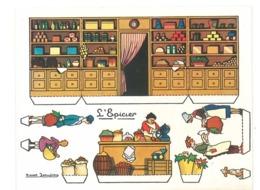 """Illustration De Marcel Jeanjean - Motifs A Découper """" L' Epiccier """" Marchande, Epicerie Et Clients   (Divers 8) - Autres"""