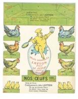 """Publicité Nos Oeufs !!!  Oeufs Granulés """"LAYTON"""" Motifs A Découper - Poules Et Poussins   (Divers 9) - Immagine Tagliata"""