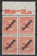 Deutsches Reich 1923 Dienstmarken - Block Of  4 Stamps - Ungebraucht