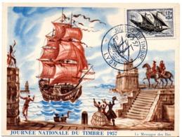 MARINE = 69 LYON 1957 = CARTE MAXIMUM ' JOURNEE Du TIMBRE' FELOUQUE  N° Yvt 1093 - Cartes-Maximum
