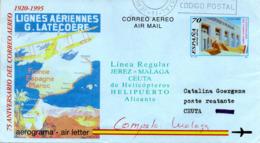 "(Bu-B4) Spanien Aerograma ""75 ANIVERSARIO DEL CORREO AEREO 1920-1995"" LIGNES AERIENNES G.LATECOERE TST 23.SET.1998 - Ganzsachen"