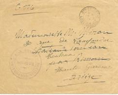 47-cachet Hôpital Temp. Annexe N°9 De Bon-Encontre Sur Lettre En 1917-cachet Rare - Guerre De 1914-18
