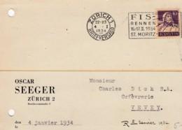 No 184 Sur Lettre Commerciale Réponse De La Firme Oscar Seeger, Zürich - Flamme FIS RENNEN ST.MORITZ - Svizzera