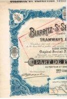 Ancienne Action - Sté Anonyme De Tramways Electriques  Biarritz-St-Sébastien-Tolosa -  Titre De 1910 N° 10701 - Chemin De Fer & Tramway