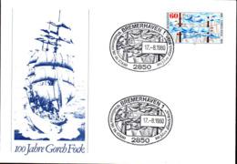 RFA Poste Obl Yv: 904 Mi:1058 Gorch Fock Bremerhaven 18-7-80 Lettre (TB Cachet à Date) - Cartas