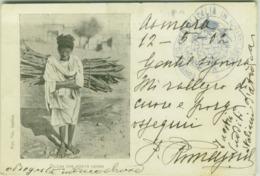 ERITREA - BILENA CHE PORTA LA LEGNA - FRANCOBOLLO 10 CENT. CON SOVRASTAMPA - TIMBRO CONSOLATO 1900s (BG5062) - Eritrea