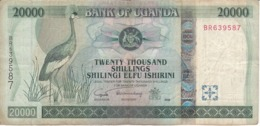 BILLETE DE UGANDA DE 20000 SHILLINGS DEL AÑO 2005 (GRULLA CORONADA) (BANKNOTE) - Oeganda