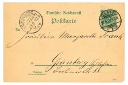 Ganzsache Glatz, Schlesien 1892 Nach Grünberg - Allemagne