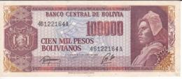 BILLETE DE BOLIVIA DE 100000 PESOS BOLIVIANOS DEL AÑO 1984 (BANKNOTE) - Bolivia