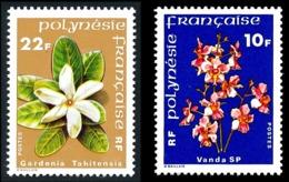POLYNESIE 1979 - Yv. 128 Et 129 **   Cote= 4,00 EUR - Fleurs Vanda Et Gardenia (2 Val.)  ..Réf.POL24469 - Ungebraucht