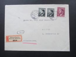 Böhmen Und Mähren Einschreiben 2 Sprachiger E Zettel Mährisch Budwitz Moravske Budejovice - Wien Freimarken Adoif Hitler - Briefe U. Dokumente