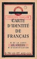 WW2 Sept.1944  (ETAT FRANÇAIS Annulé) République Française - CARTE D'IDENTITÉ - PARIS - Historische Documenten