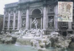 Carte  Maximum  1er Jour   Capitale   Européenne  :  Fontaine  De  TREVI    ROME   2002 - Cartes-Maximum