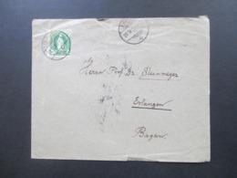 Schweiz 1889 Nr. 59 Gezähnt B Farbe ?? EF Brief Nach Erlangen Mit 5 Stempel Interessanter Beleg!! - Covers & Documents