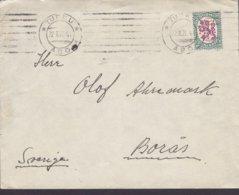 Finland TURKU Åbo TMS Cds. 1924 Cover Brief BORÅS Sweden 1½ M. Wappenlöwe Stamp - Finland