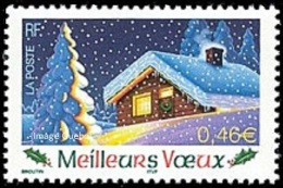 France N° 3533 ** Meilleurs Voeux 2003 - Arbre - Sapin - Chalet - Neige - France