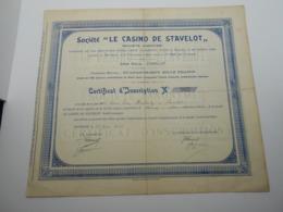 "Certificat D'inscription "" Casino De Stavelot "" N° 105   Année 1934 - Casino"