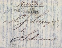 "1825 PORTUGAL , LISBOA - SCHIEDAM ( HOLANDA ) , MARCA "" LISBOA "" EN ÓVALO , "" ESPAGNE PAR BAYONNE "" Y MARCA HOLANDESA - Portugal"